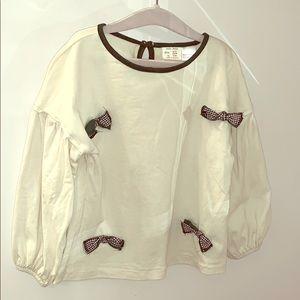 Zara girls puff sleeves top
